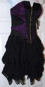 New $238 Jill Stuart lace mini dress cocktail Black Violet 0