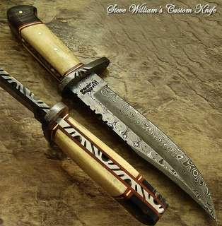 Steve Williams RARE 1 OF A KIND CUSTOM DAMASCUS BOWIE KNIFE  CAMEL