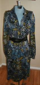 70s vintage Italy blue abstract print jersey shirt dress XL