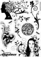 ABUNDANCE and FLOURISHES Unmounted rubber stamps SHEET