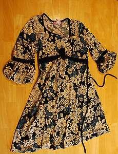 Girls Black & Cream Floral Knit Dress Sz 16 EUC