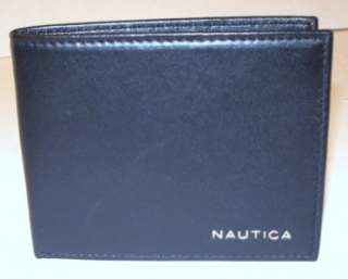 NEW NAUTICA MENS LEATHER BIFOLD PASSCASE WALLET BLACK 026217297675