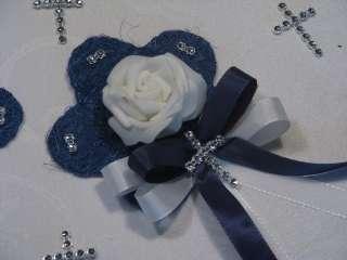 Aufleger Tischdeko Konfirmation Kommunion Hochzeit blau / weiß