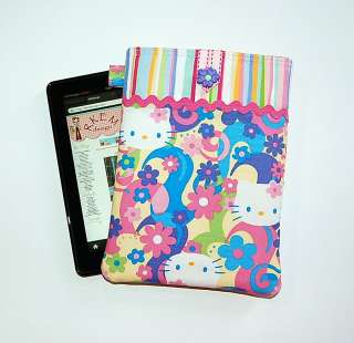 HELLO KITTY IN PAISLEY FLOWERS   Nook Color / Kindle Fire Case Cover