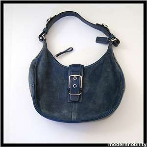 BLUE SUEDE HOBO BAG WITH BUCKLE NO.F3Q 7559 WOMENS HANDBAG