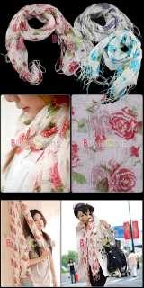 Lady Women Fashion Rose Cotton Blends Print Long Girl Scarf Shawl Wrap