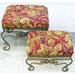 New Metal Fabric Foot Stool Ottoman Set Of 2   83586