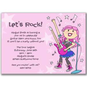 Rock Star Girls Invitations Birthday Party Music Guitar