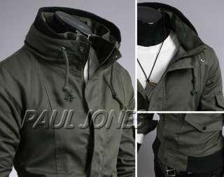 PJ Mens Slim Thicken Warm Hoodie Jacket Coat Black/Green/Khaki XS~L