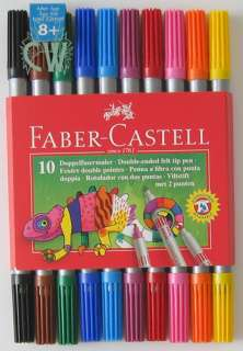 Faber Castell DOUBLE ENDED Colour Marker Pens.Set of 10