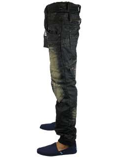 NEW MENS BLACK CRU 10 HARLEY DESIGNER TAPERED LEG DENIM JEANS ALL
