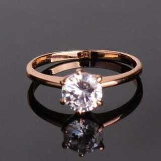 18K gold filled diamond cut crystal engagement ring Sz7
