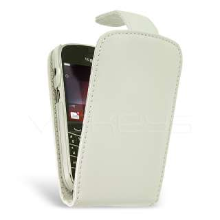White Genuine Leather Flip Case for BlackBerry Bold 9900
