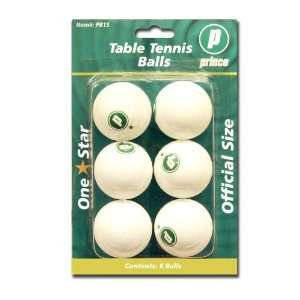 DMI Sports Prince 1 Star Table Tennis Balls (White, Pack of 6)