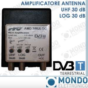 AMPLIFICATORE MICRO TV DTT ANTENNE LOGARITMICA UHF 30dB LOG 30dB