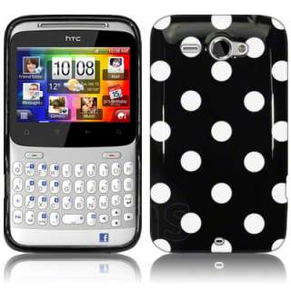 London Magic Store   Black Polka Dots Gel Case For HTC ChaCha + Film