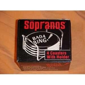 Sopranos Bada Bing! Chrome & Leather Coaster Set: Kitchen