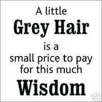 Little Grey hair  Funny T shirt (White 006)
