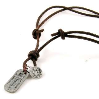 Mens army dog tag Leather NECKLACE Rusty Silver BROWN