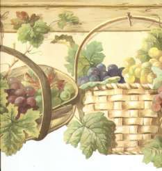 Kitchen on Grapes In Baskets Hanging On Pegs Country Kitchen Wallpaper Border