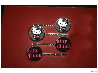 HELLO KITTY Punk rock tough set of 4 bobby pins