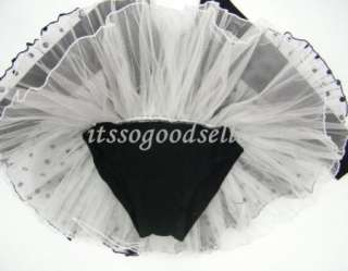 Sleeve Leotard Ballet Tutu Costume Dance Skirt Dress 2 7Y Black