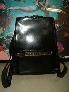 KARL LAGERFELD Paris Authentic Vintage Black Leather Backpack Handbag