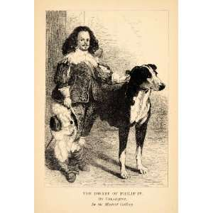 1881 Print Dwarf Philip IV Dog Costume Painting Diego