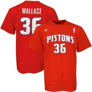 adidas Detroit Pistons #36 Rasheed Wallace Red Net Player T shirt