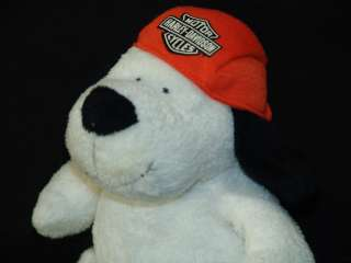 PLUSH OFFICIAL HARLEY DAVIDSON MOTORCYCLE ORANGE HAT WHITE PUPPY