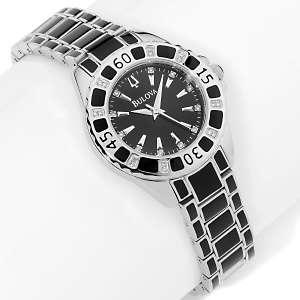 Bulova Ladies Black Enamel Stainless Steel Diamond Bracelet Watch at