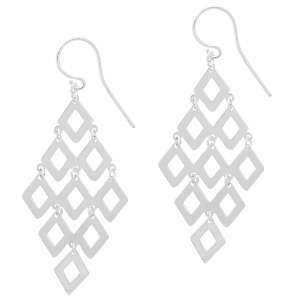 Sterling Silver Diamond Shaped Chandelier Earrings