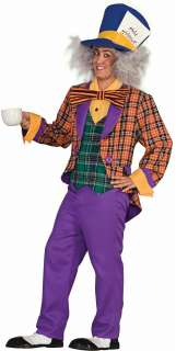 Plaid Mad Hatter Adult Costume   Includes Hat; Shirt front with