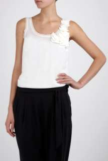 Ivory Ruffle Shoulder Tank by DKNY   Neutral   Buy Tops Online at my