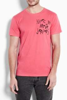 Marc by Marc Jacobs  Neon Pink Tool Box Logo T Shirt by Marc By Marc