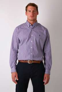 Purple and Green Custom Fit Stripe Button Down Shirt by Polo   Purple
