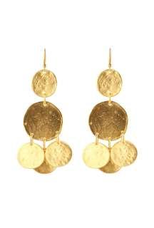 Gold Coin Pierced Earring by Kenneth Jay Lane   Metallic   Buy