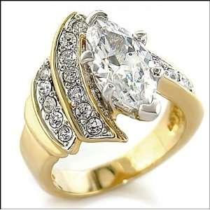Jewelry   2 Carat Clear CZ Gold Tone Ring SZ 5 Jewelry