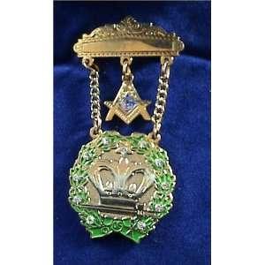 Amaranth 11 Stones & Square & Compass Masonic Jewel