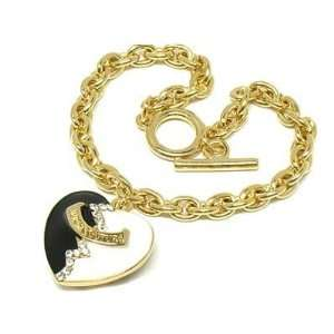 & white heart crystal bracelet   yellow gold plated