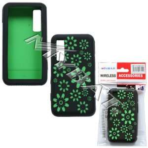 SAMSUNG BEHOLD T919 GREEN FLOWER BLACK SILICONE SKIN COVER