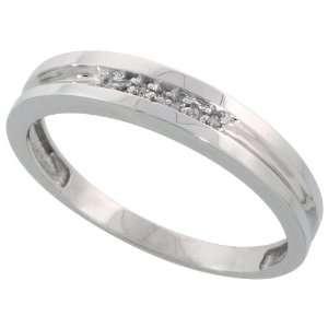 Sterling Silver Mens Diamond Wedding Band Ring 0.04 cttw Brilliant Cut