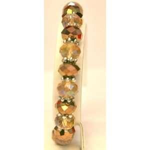 Glass Crystal Stretch Beads Bracelet 6 8 Inch yellow