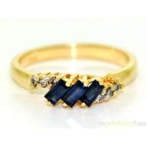 Sapphire & Diamond Ring 14K Yellow Gold (September Birthstone