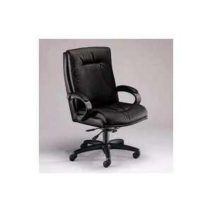 Back Swivel/Tilt Chair with Knee Tilt, Black Leather