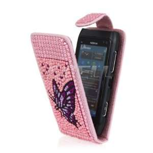 PURPLE BUTTERFLY LEATHER BLING FLIP CASE FOR NOKIA N8 Electronics