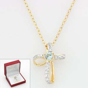 Blue Topaz & Diamond Accent Cross Necklace for Women in 18