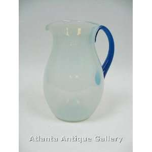 Opaline Glass Water Pitcher with Blue Handle: Kitchen