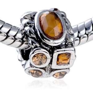 Metal November Birthstone European Beads Fits Pandora Charm Bracelet