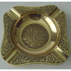 Square Hand Made India Brass Gold Tone Metal Ashtray